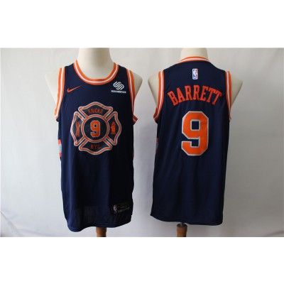 NBA Knicks 9 R.J. Barrett Navy City Edition Nike Swingman Men Jersey