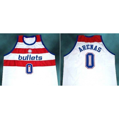 NBA Wizards 0 Gilbert Arenas Bullets Throwback White Jersey