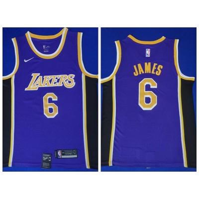 NBA Lakers 6 LeBron James Purple Nike Men Jersey