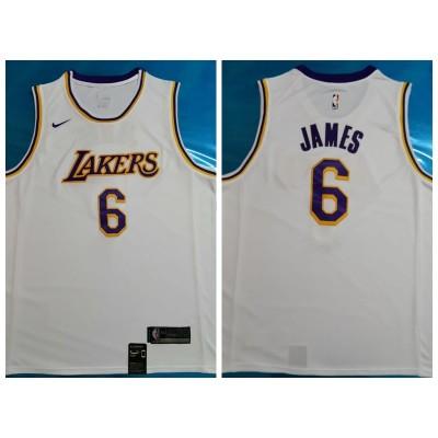NBA Lakers 6 LeBron James White Nike Men Jersey