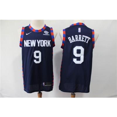 NBA Knicks 9 RJ Barrett Navy City Edition Nike Men Jersey