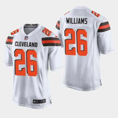 Nike Browns 26 Greedy Williams White Elite Men Jersey