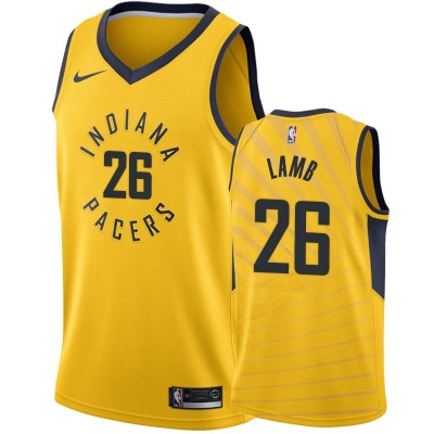 NBA Pacers 26 Jeremy Lamb Yellow Nike Men Jersey