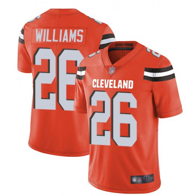 Nike Browns 26 Greedy Williams Orange Vapor Untouchable Limited Men Jersey