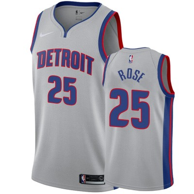 NBA Detroit Pistons 25 Derrick Rose Grey Nike Men Jersey