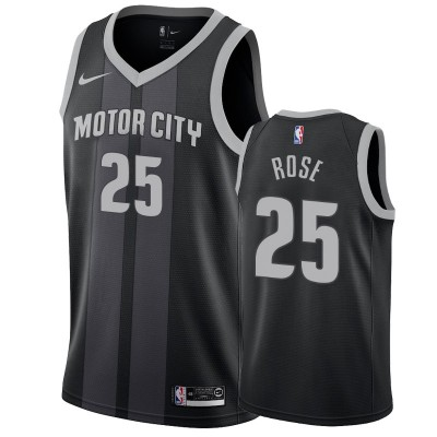 NBA Detroit Pistons 25 Derrick Rose Black City Edition Nike Men Jersey