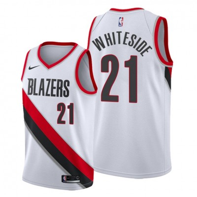 NBA Blazers 21 Hassan Whiteside White Nike Men Jersey