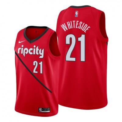 NBA Blazers 21 Hassan Whiteside Red Earned Edition Nike Men Jersey