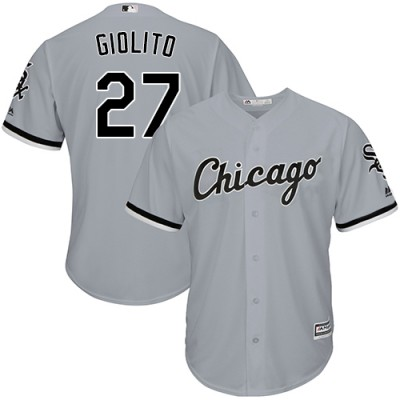 MLB White Sox 27 Lucas Giolito Gray Cool Base Men Jersey
