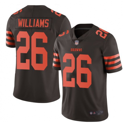 Nike Browns 26 Greedy Williams Brown Color Rush Limited Men Jersey