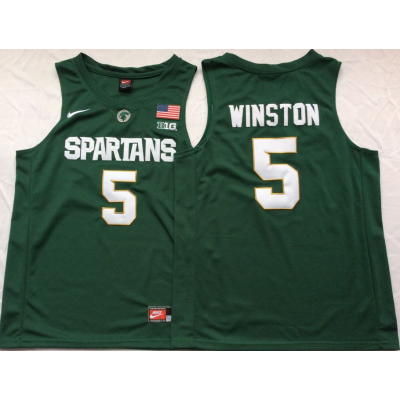 NCAA Michigan State Spartans 5 Jameis Winston College Green Basketball Men Jersey