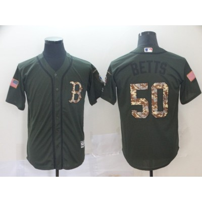 MLB Red Sox 50 Mookie Betts Olive Salute to Service Men Jersey