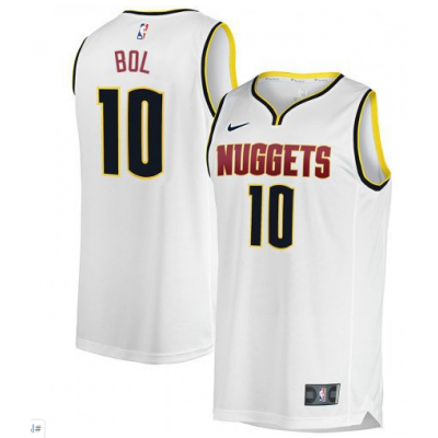 NBA Nuggets 10 Bol Bol White Nike Swingman Men Jersey