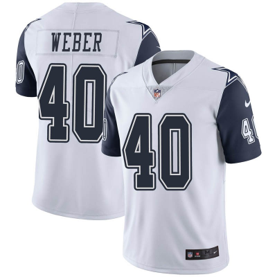 Nike Cowboys 40 Weber Color Rush White NFL Men Limited Jersey