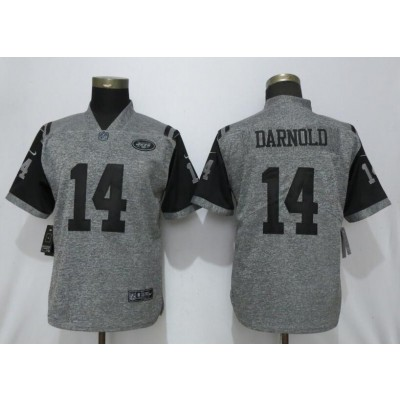 Nike Jets 14 Sam Darnold Gray Gridiron Gray Vapor Untouchable Limited Women Jersey
