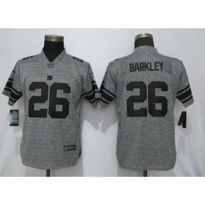 Nike Giants 26 Saquon Barkley Gray Gridiron Gray Vapor Untouchable Limited Women Jersey