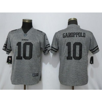 Nike 49ers 10 Jimmy Garoppolo Gray Gridiron Gray Vapor Untouchable Limited Women Jersey