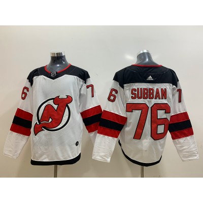 NHL New Jersey Devils 76 P.K. Subban White Adidas Men Jersey