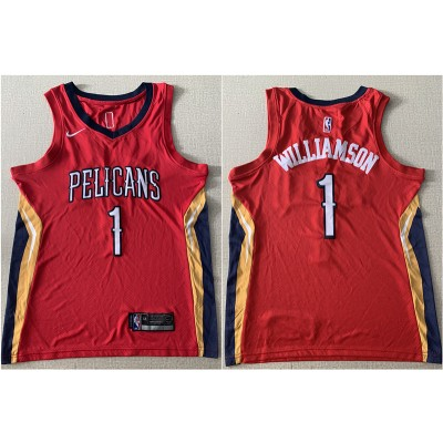 NBA Pelicans 1 Zion Williamson Red Nike Men Jersey