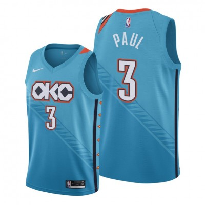 NBA Oklahoma City Thunder 3 Chris Paul Blue City Edition Nike Men Jersey