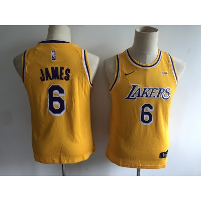 NBA Lakers 6 LeBron James Yellow Nike Youth Jersey With Logo