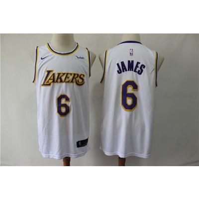 NBA Lakers 6 LeBron James White Nike Men Jersey With Logo