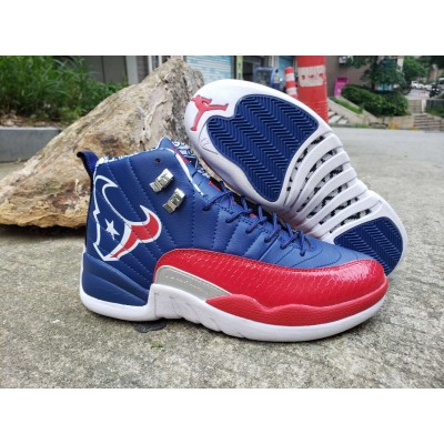 Air Jordan 12 Housten Texas Blue Red Shoes