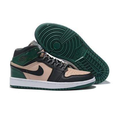 Air Jordan 1 Mid SE Black Green Pink Shoes