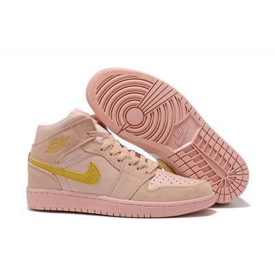 Air Jordan 1 Mid Pink Gold Shoes