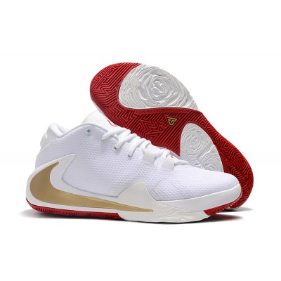 2019 Nike Zoom Freak 1 White Gold Red Shoes