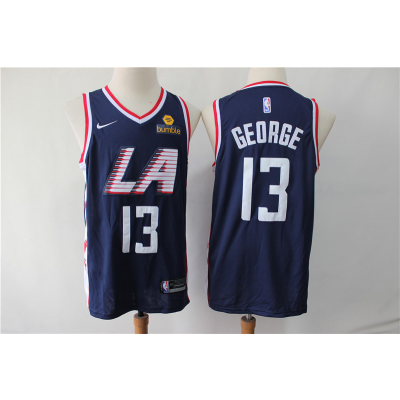 NBA Clippers 13 Paul George Navy City Edition Swingman Nike Men Jersey With Logo