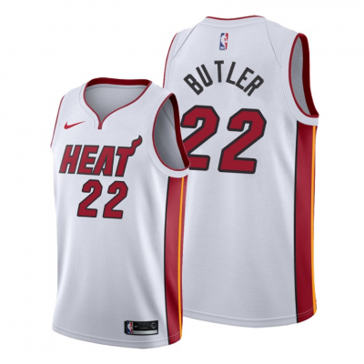 NBA Heat 22 Jimmy Butler White Nike Men Jersey