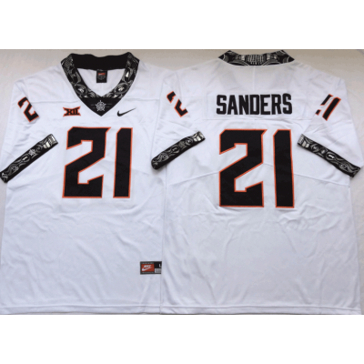 NCAA Oklahoma State Cowboys 21 Barry Sanders White College Football Limited Men Jersey