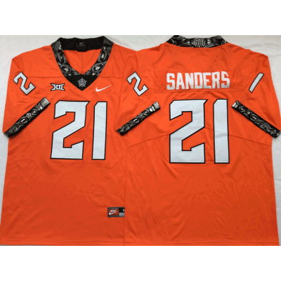 NCAA Oklahoma State Cowboys 21 Barry Sanders Orange College Football Limited Men Jersey