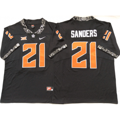 NCAA Oklahoma State Cowboys 21 Barry Sanders Black College Football Limited Men Jersey
