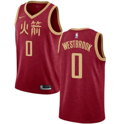NBA Houston Rockets 0 Russell Westbrook Red City Edition Nike Men Jersey