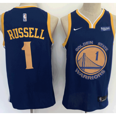 NBA Golden State Warriors 1 D'Angelo Russell Blue Nike Men Jersey With Logo