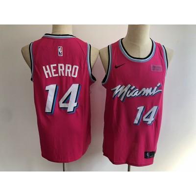 NBA Heat 14 Tyler Herro Earned Edition Pink Nike Men Jersey with logo