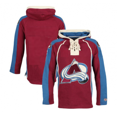NHL Avalanche Blank Customized Red All Stitched Hooded Men Sweatshirt