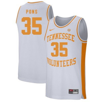 NCAA Tennessee Volunteers 35 Yves Pons White College Basketball Men Jersey
