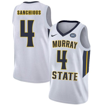 NCAA Murray State Racers 4 Brion Sanchious White College Basketball Men Jersey