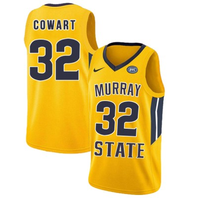 NCAA Murray State Racers 32 Darnell Cowart Yellow College Basketball Men Jersey