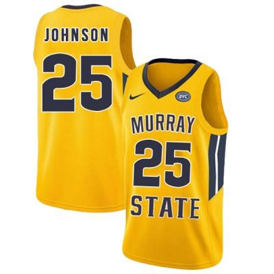 NCAA Murray State Racers 25 Jalen Johnson Yellow College Basketball Men Jersey