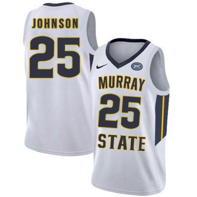 NCAA Murray State Racers 25 Jalen Johnson White College Basketball Men Jersey