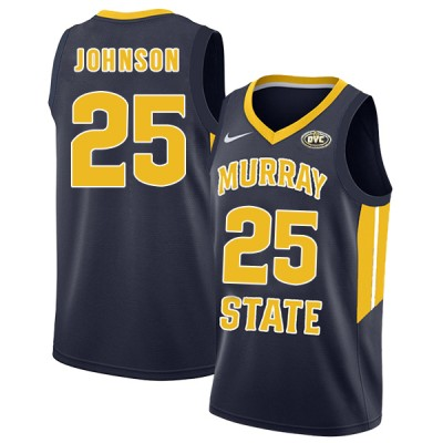 NCAA Murray State Racers 25 Jalen Johnson Navy College Basketball Men Jersey
