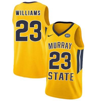 NCAA Murray State Racers 23 KJ Williams Yellow College Basketball Men Jersey