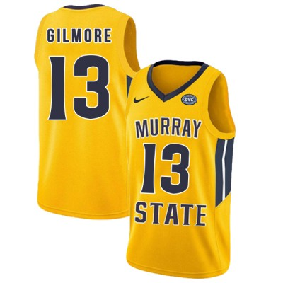 NCAA Murray State Racers 13 Devin Gilmore Yellow College Basketball Men Jersey