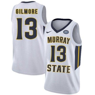 NCAA Murray State Racers 13 Devin Gilmore White College Basketball Men Jersey