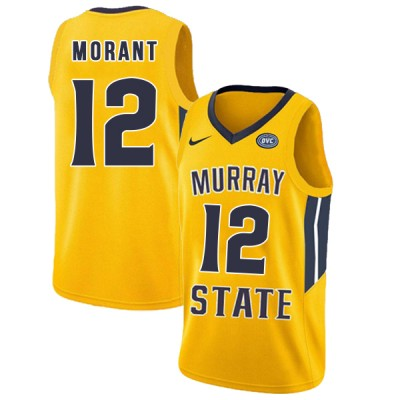 NCAA Murray State Racers 12 Ja Morant Yellow College Basketball Men Jersey