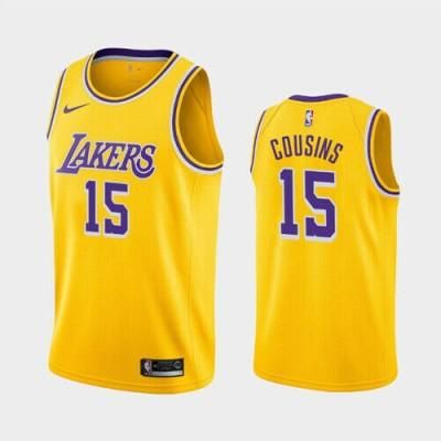 NBA Lakers 15 DeMarcus Cousins Yellow Nike Men Jersey